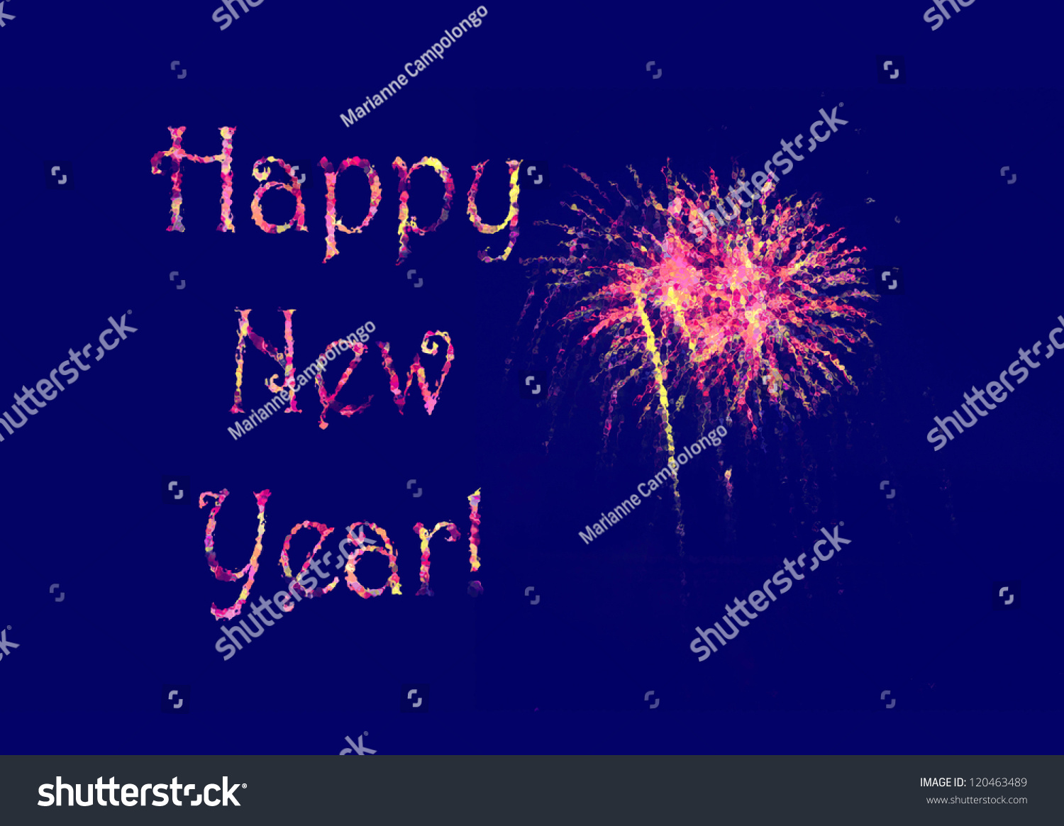 happy new year greeting card design poster banner or invite with pink yellow and purple letters