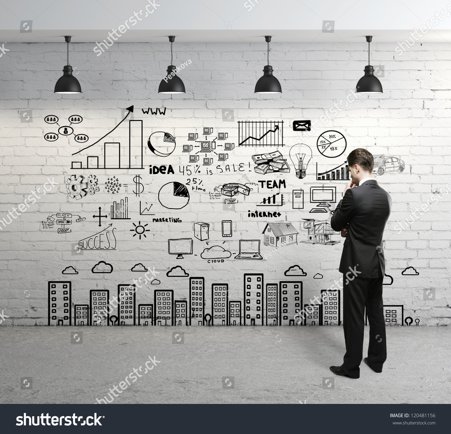 Businessman Looking Business Concept On Wall Stock Photo 120481156 ...