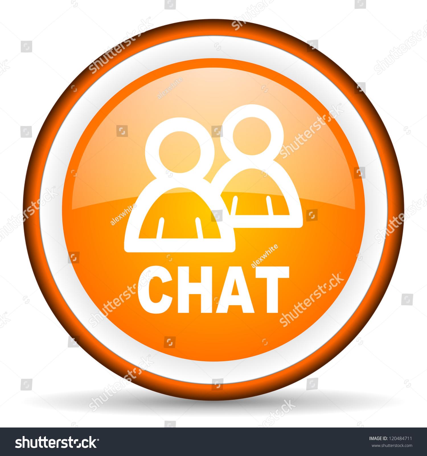 Chat orange glossy circle icon on white background stock - Chat orange ...