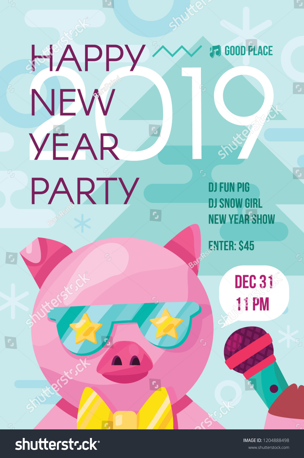 fun stylish happy 2019 new year party flyer with nice pig in bright color theme for