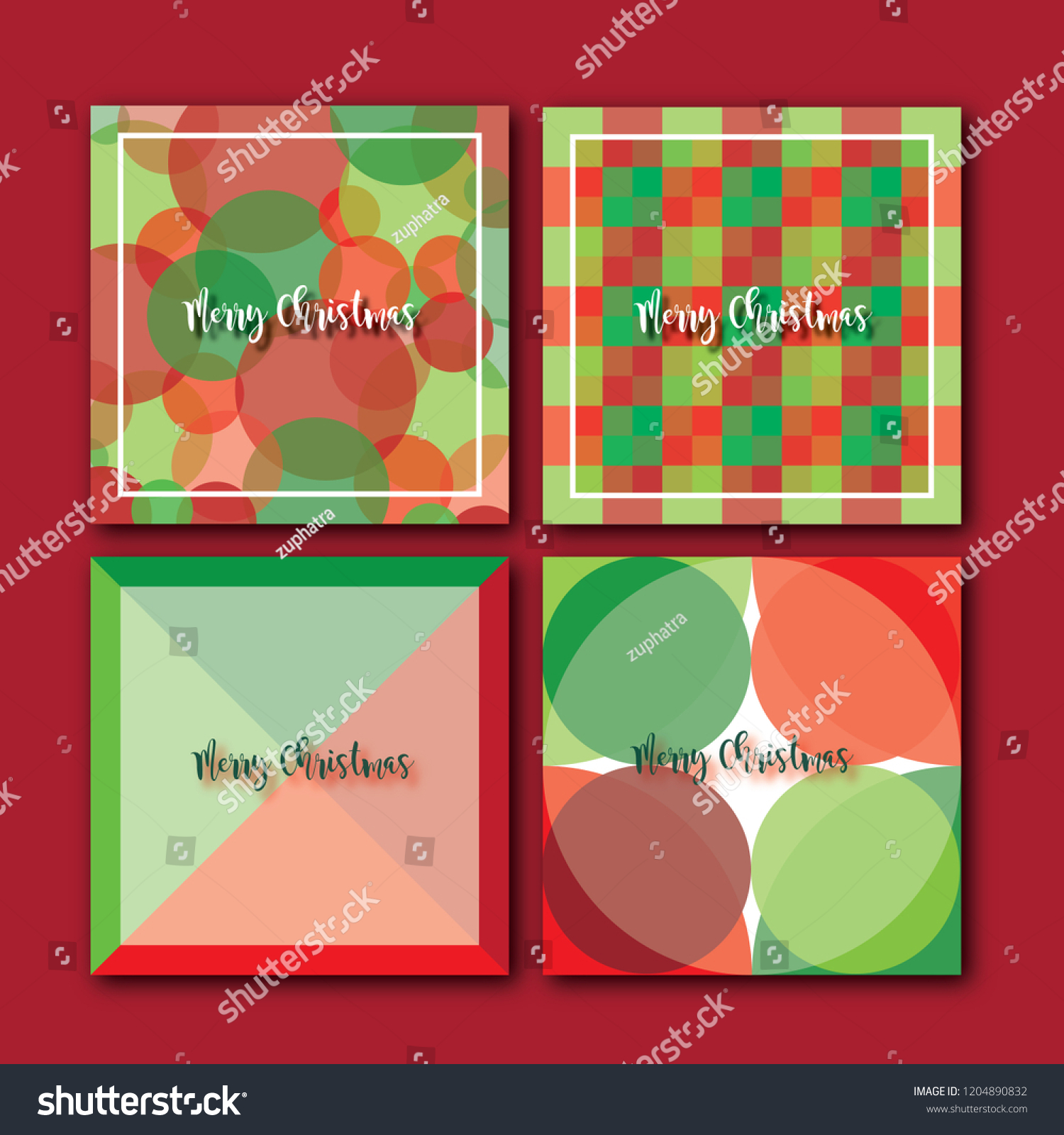 4 Set Christmas Wallpapers Red Green Stock Vector Royalty Free