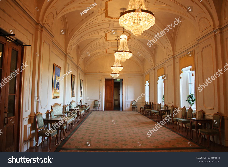 Stockholm sweden 2018 09 30 elegant palace room interior in stockholm parliament