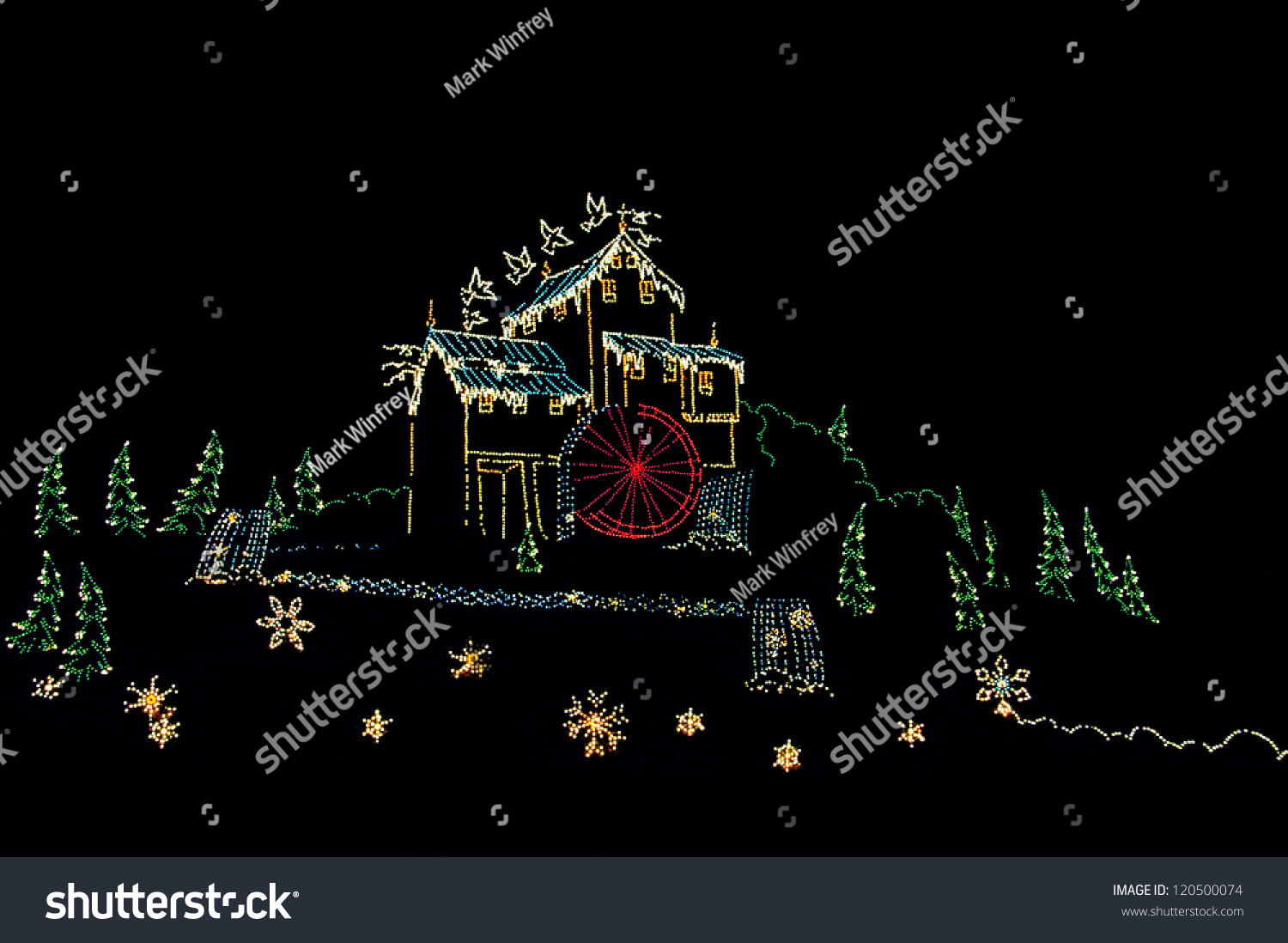 stock-photo-old-mill-decorated-in-lights