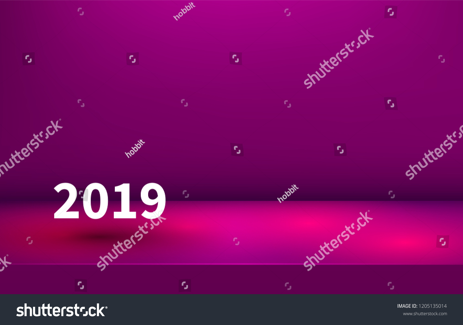 studio table room product display with copy space new year banner 2019