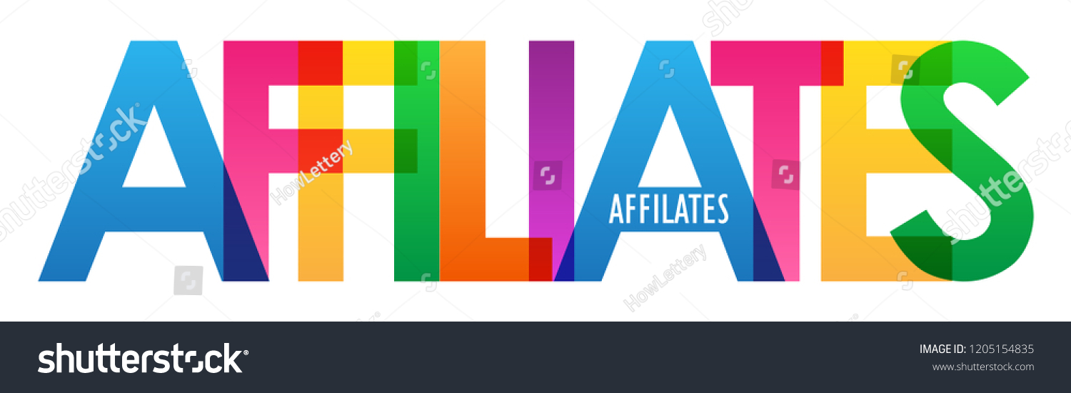 affiliates rainbow letters banner stock vector royalty free
