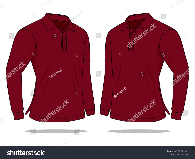 Crimson Long Sleeve Polo Shirt Vector Stock Vector Royalty Free