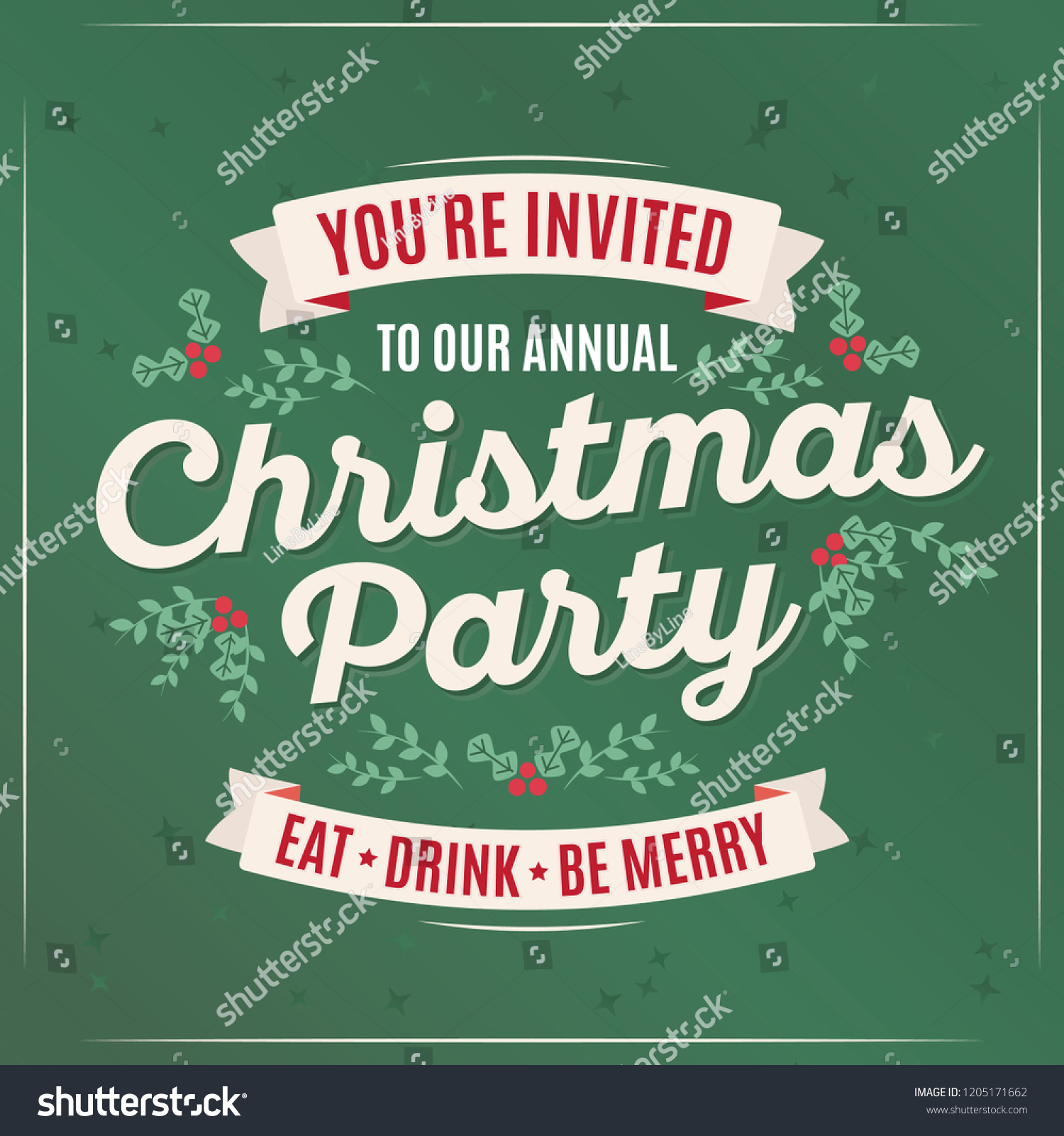 Youre Invited Our Christmas Party Holiday Stock Vector (Royalty Free ...