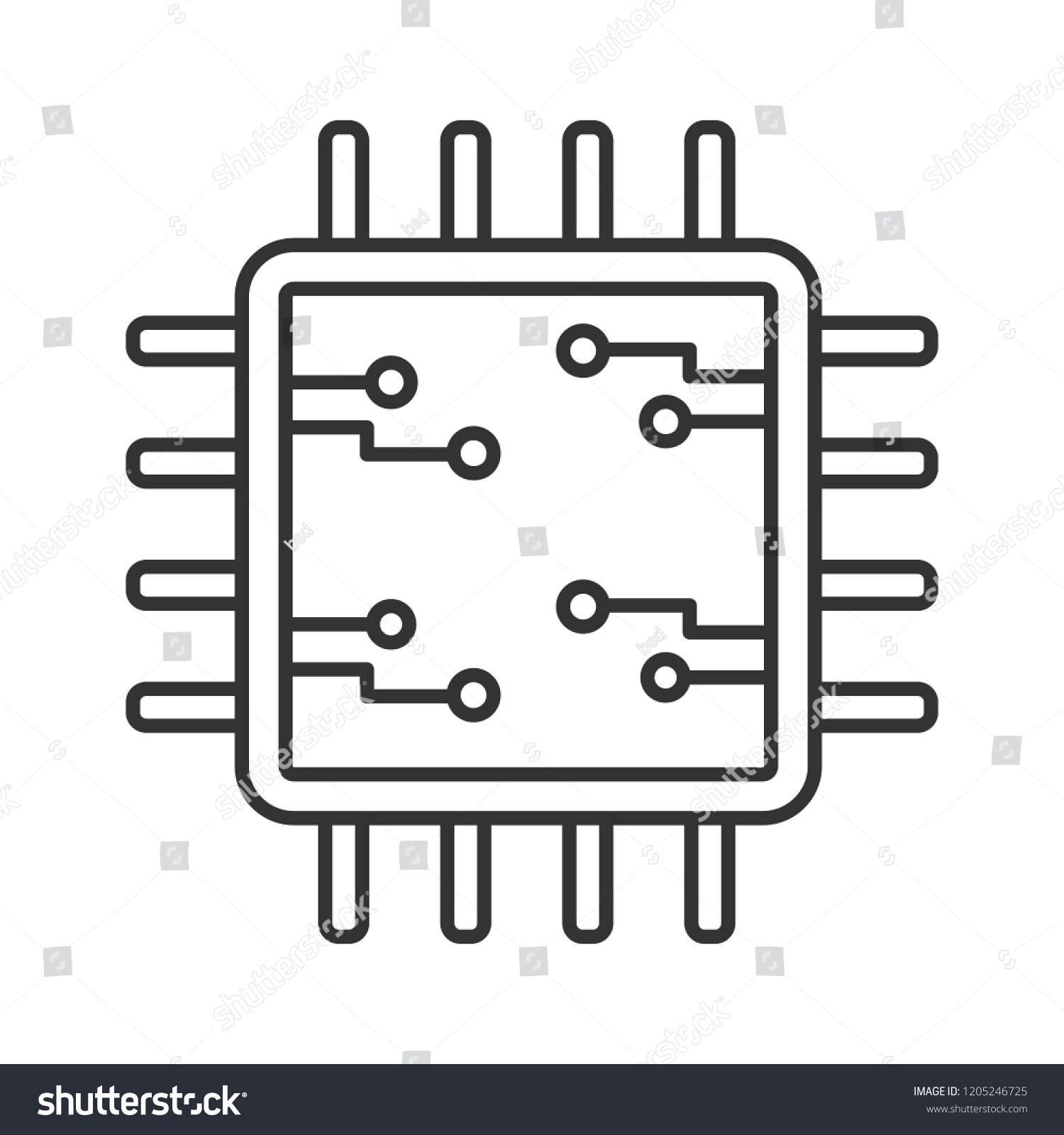 Processor Electronic Circuits Linear Icon Microprocessor Stock Integrated Circuit Chip Royalty Free Image With Microcircuits Microchip Chipset