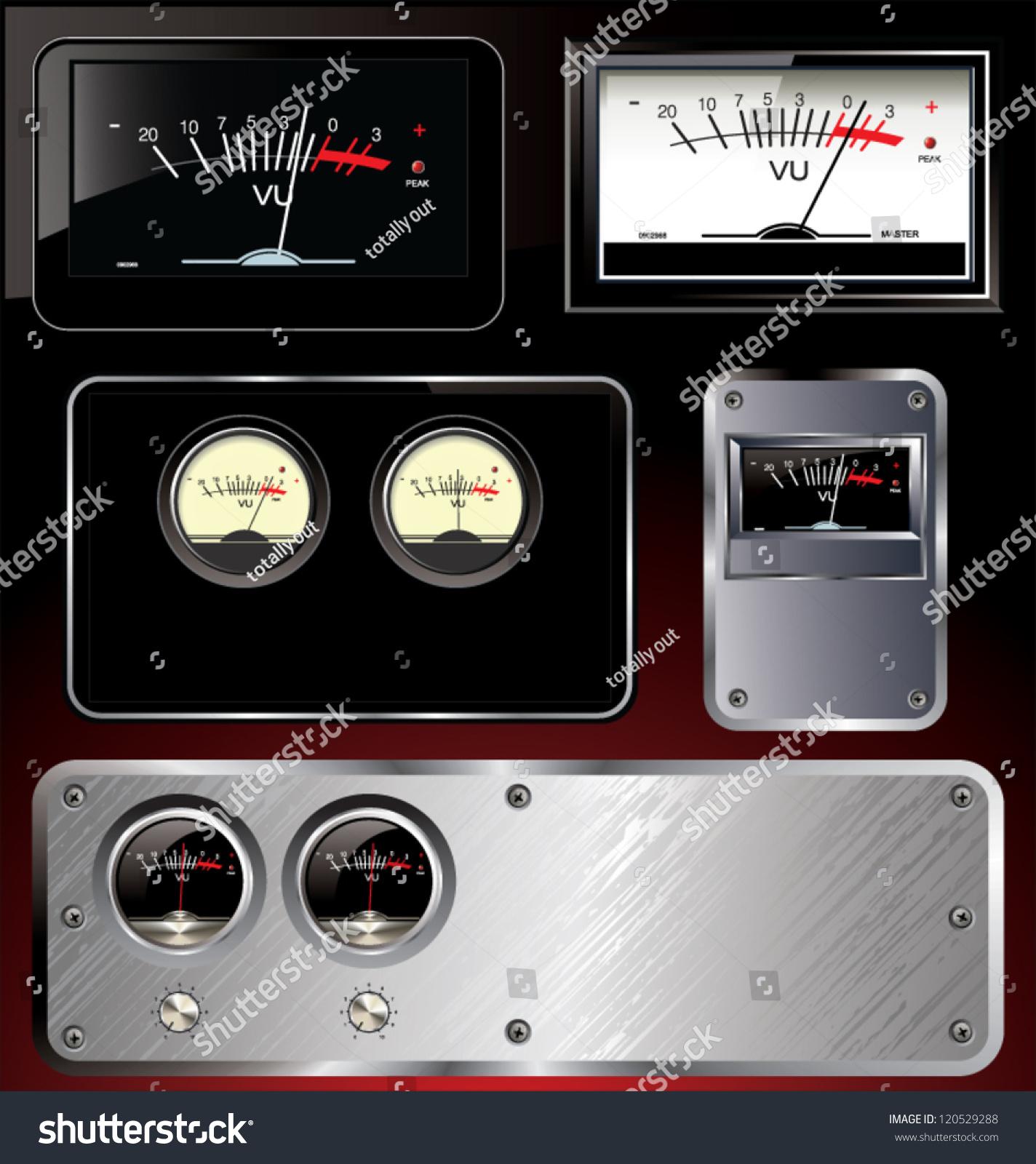 Analog Meter Background : Analog vu meter abstract background set stock vector