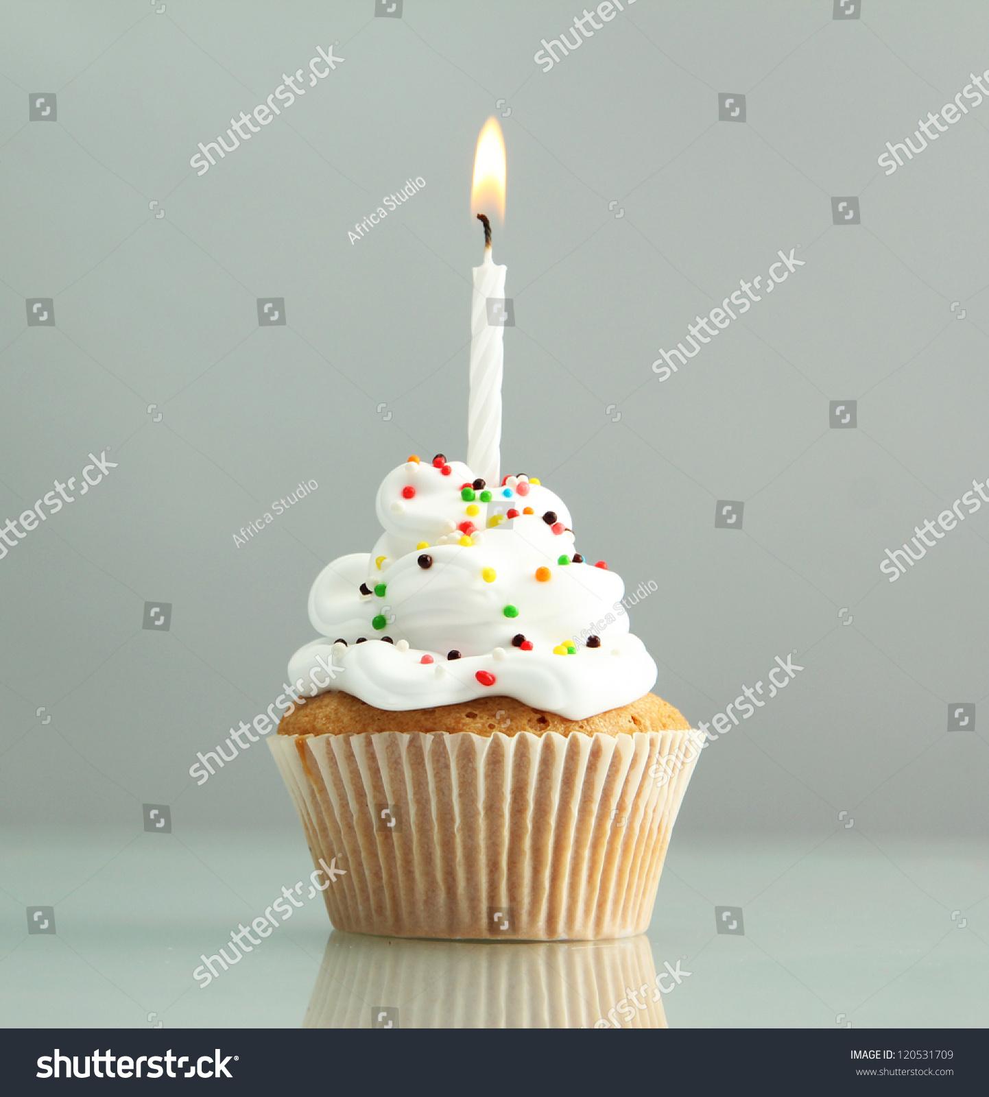 Tasty Birthday Cupcake Candle On Grey Stockfoto (Lizenzfrei ...
