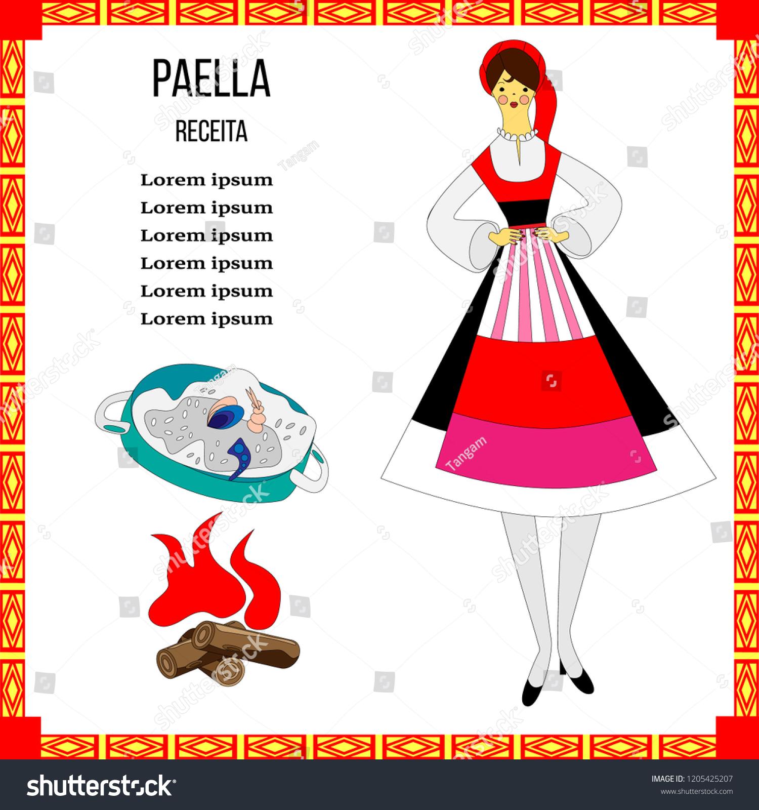 template paella recipe portuguese national costume stock vector