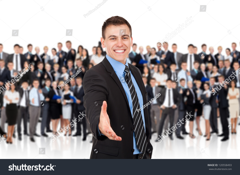 Technology Management Image: Businessman Handshake Hold Hand Welcome Gesture Stock