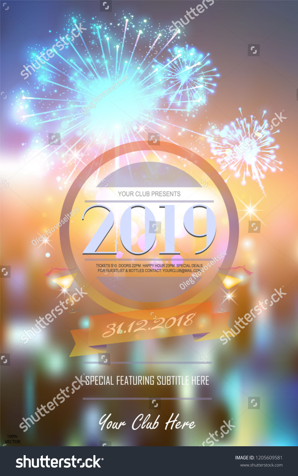 2019 new year party invitation on bright fireworks bokeh background with