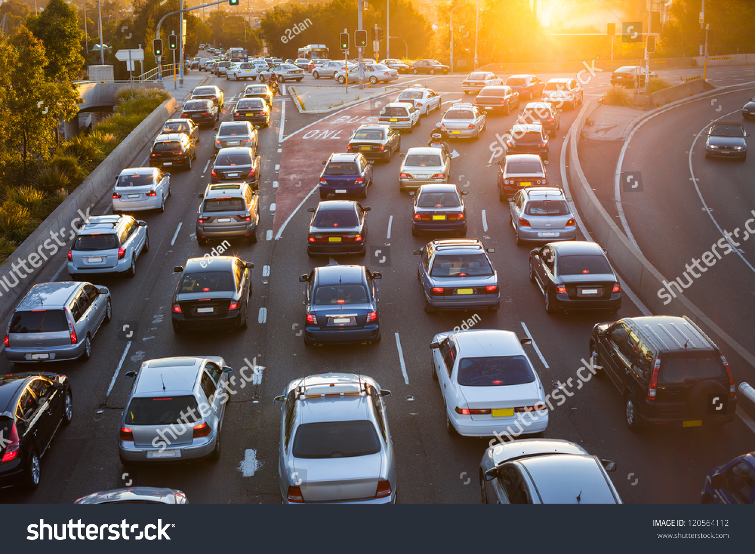Cars stuck in traffic at an intersection #120564112