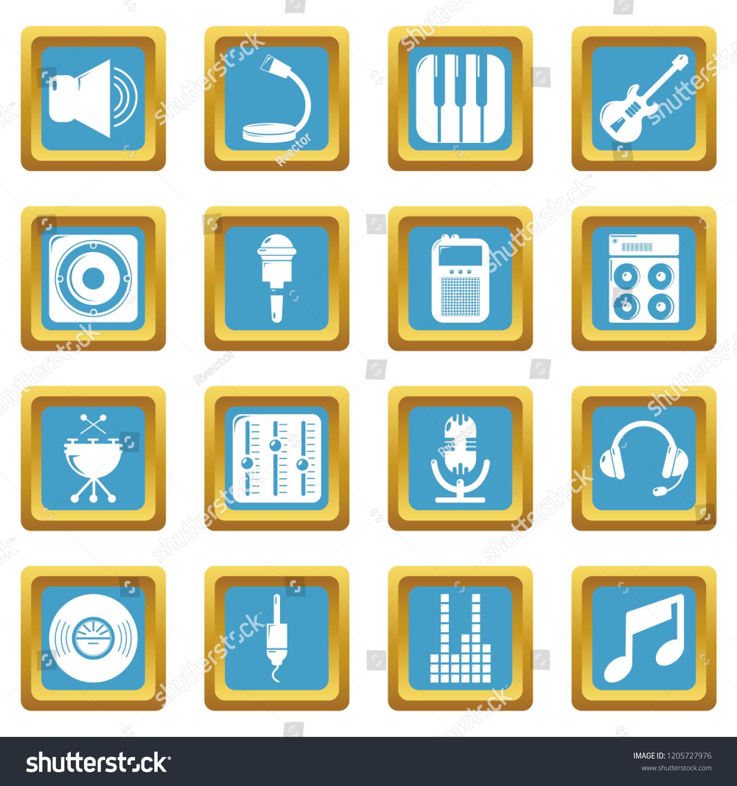 Recording Studio Symbols Icons Set Sapphirine Stock Illustration Electrical Symbol Icon Isolated On A White Background Square