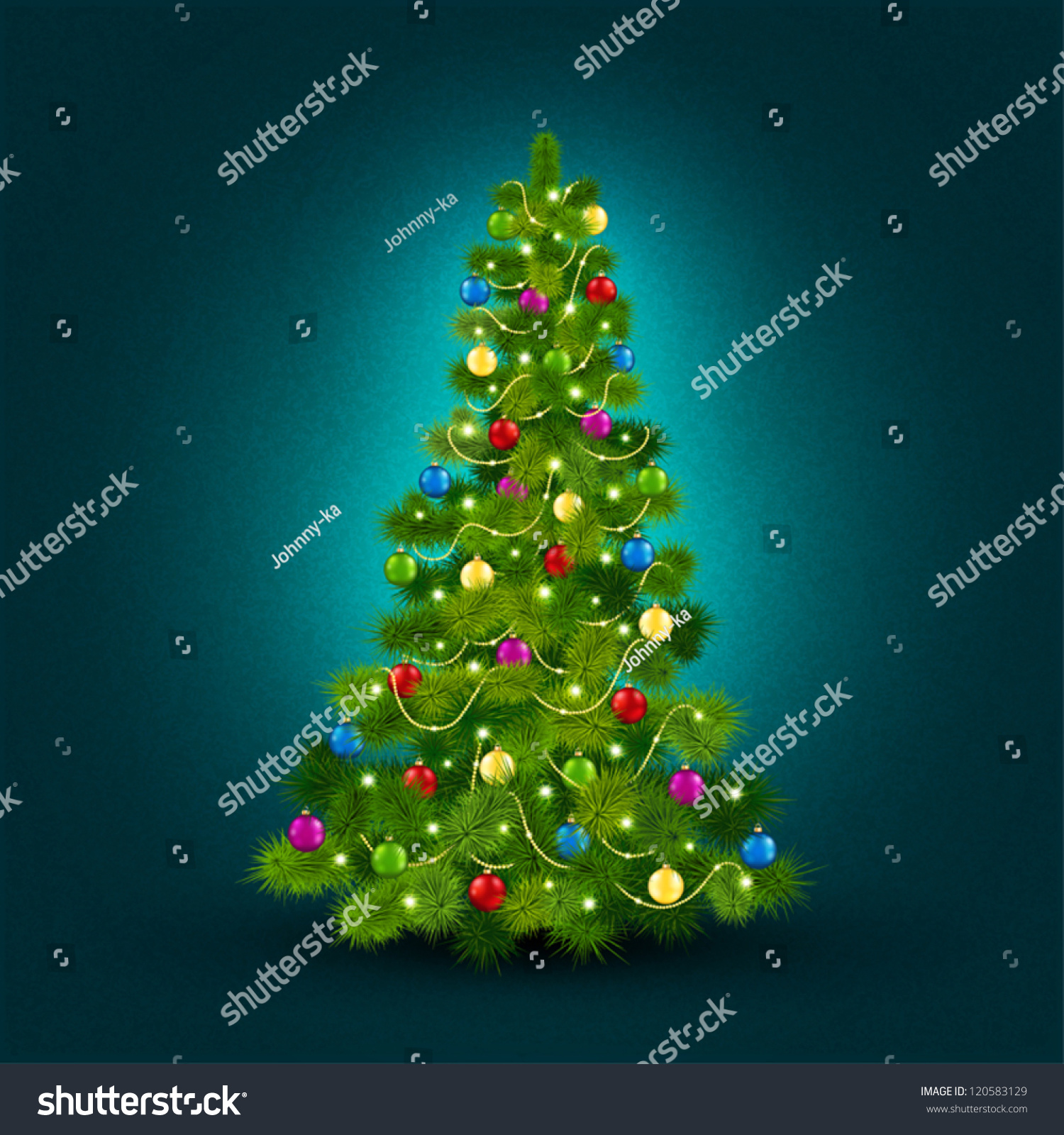 Vector illustration with a beautiful Christmas tree