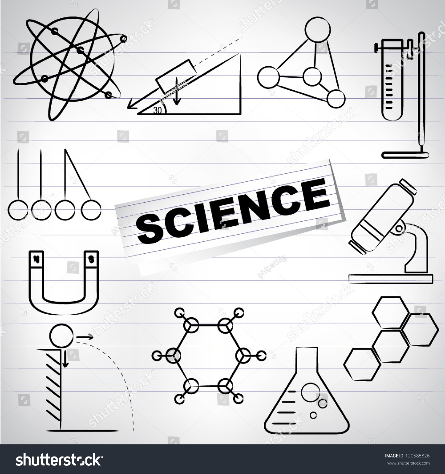 science drawing background paper line shutterstock vector lightbox save