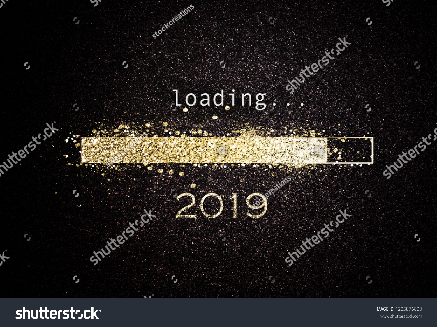 Computer screen with loading bar counting down for New Years Eve 2019 with sparkling glitter and copy space over black #1205876800