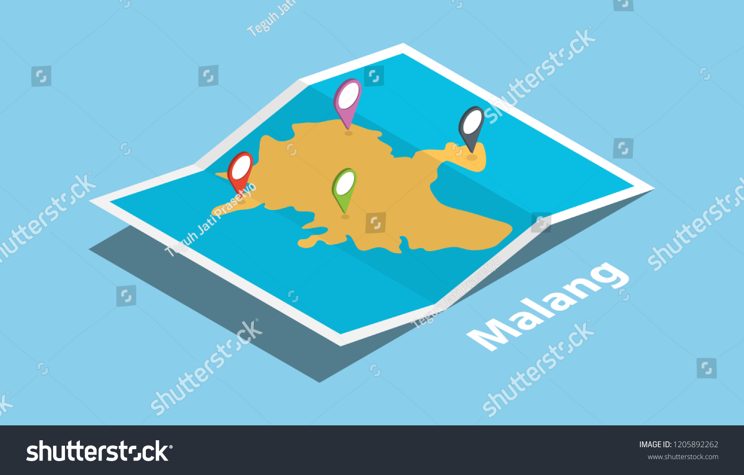 Malang Indonesia Java Explore Maps Isometric Stock Vector Royalty Free 1205892262