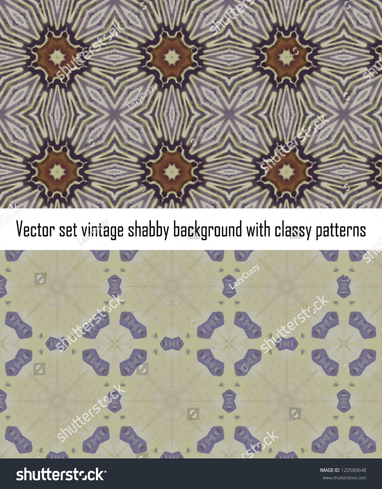 Vintage Shabby Background Classy Patterns Seamless Stock Vector
