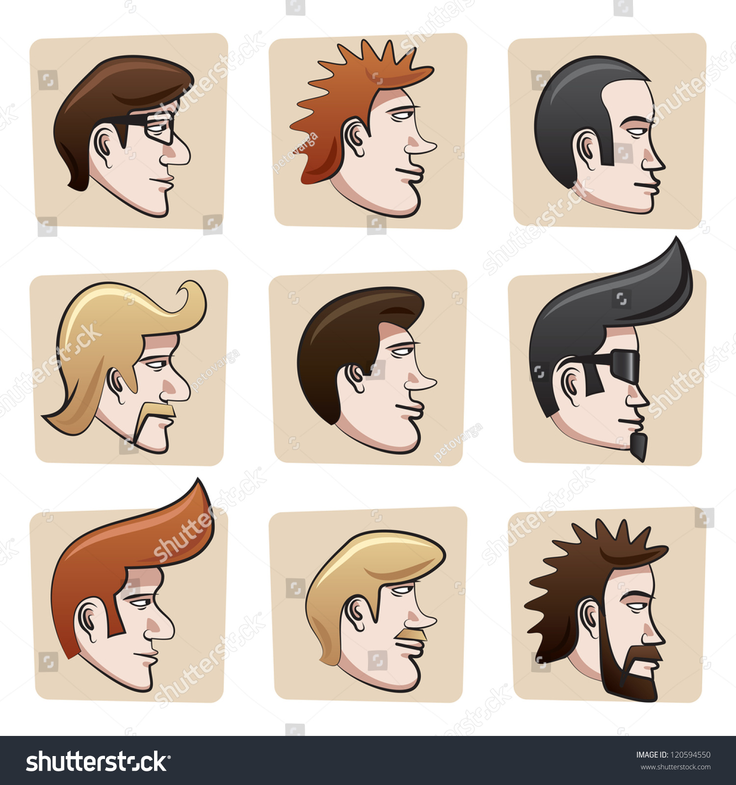 illustration men heads profile side view stock vector royalty free