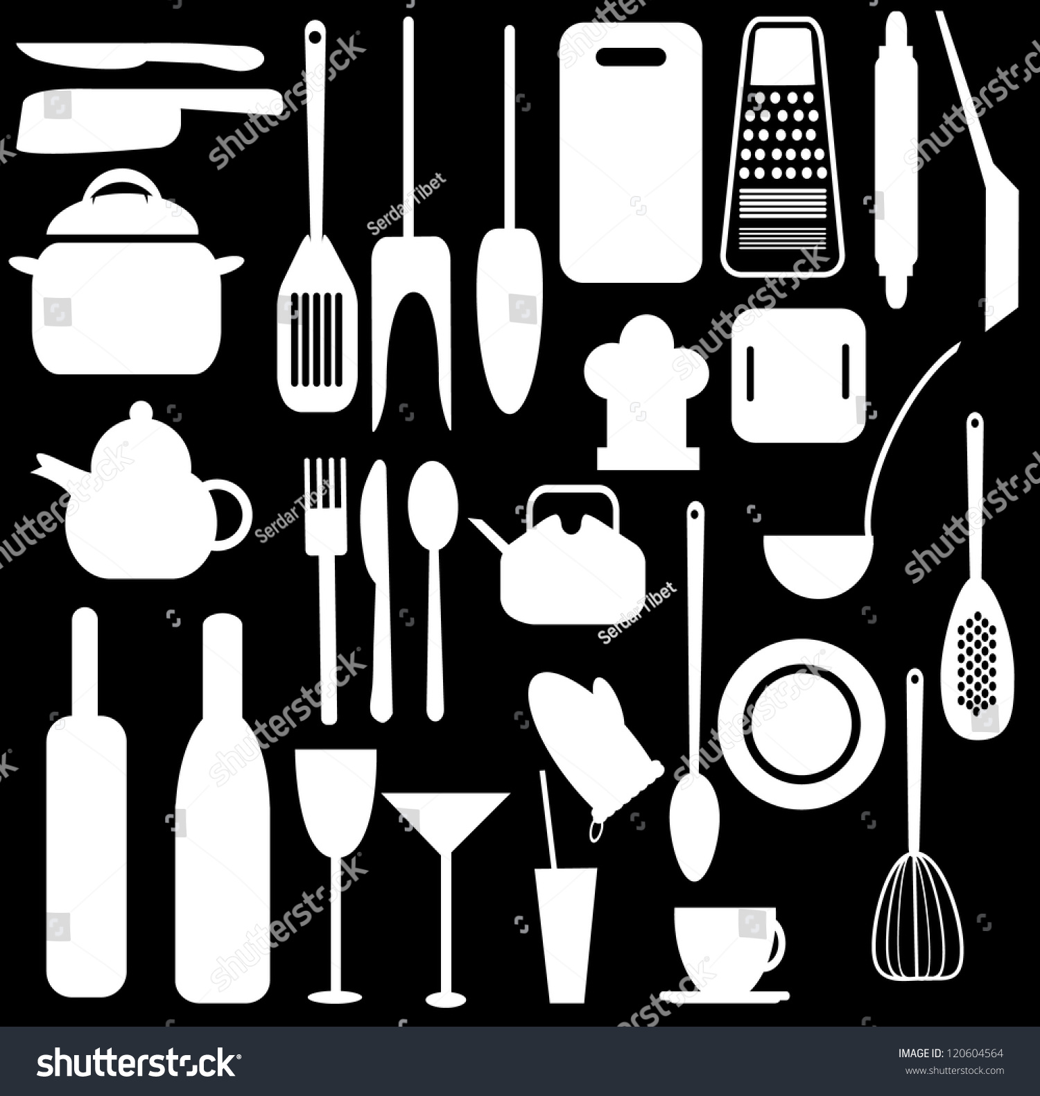 Kitchen utensils black and white vector design 120604564 for Kitchen design utensils