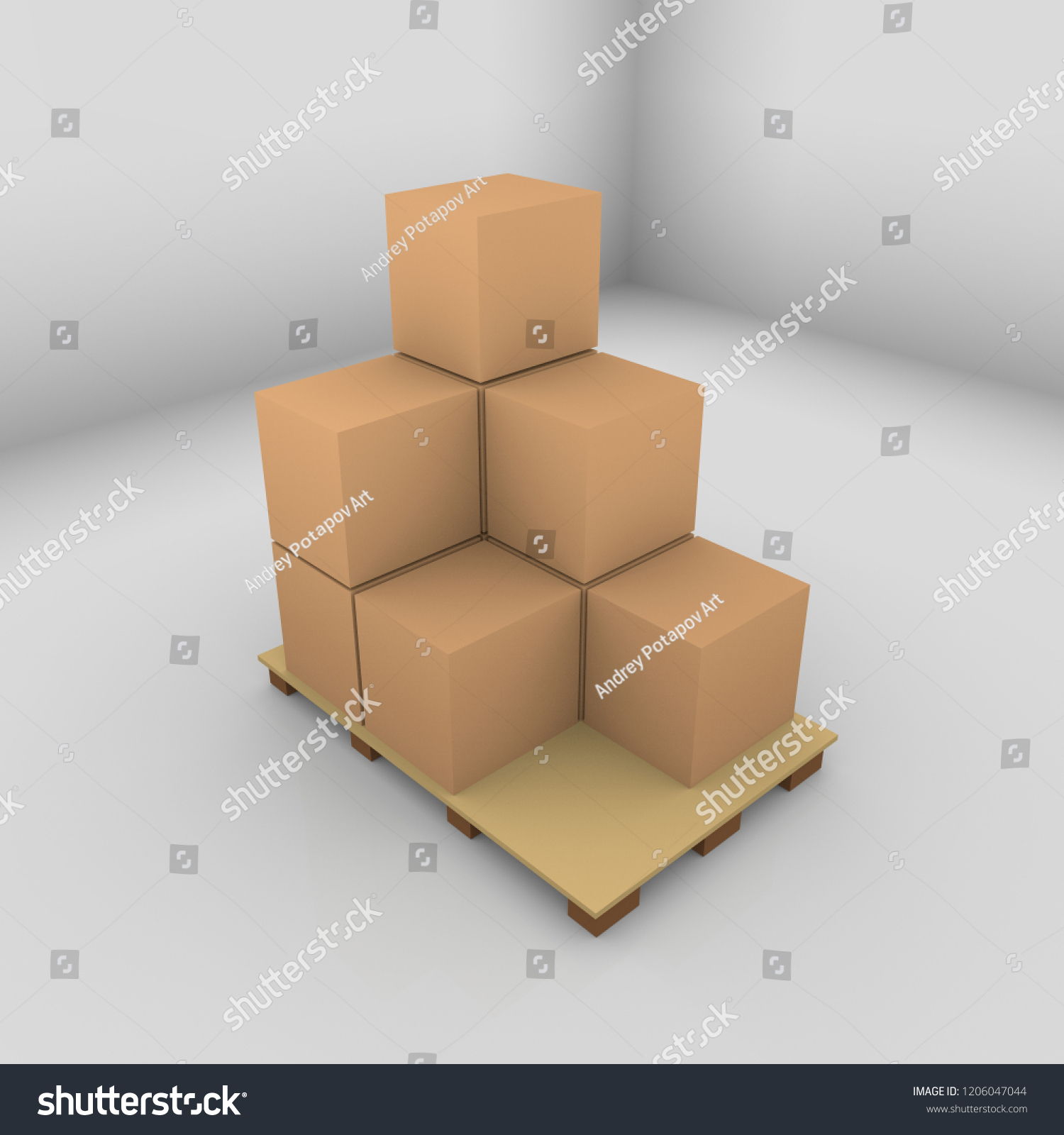 3d Rendering Eight Cardboard Boxes On Stock Illustration