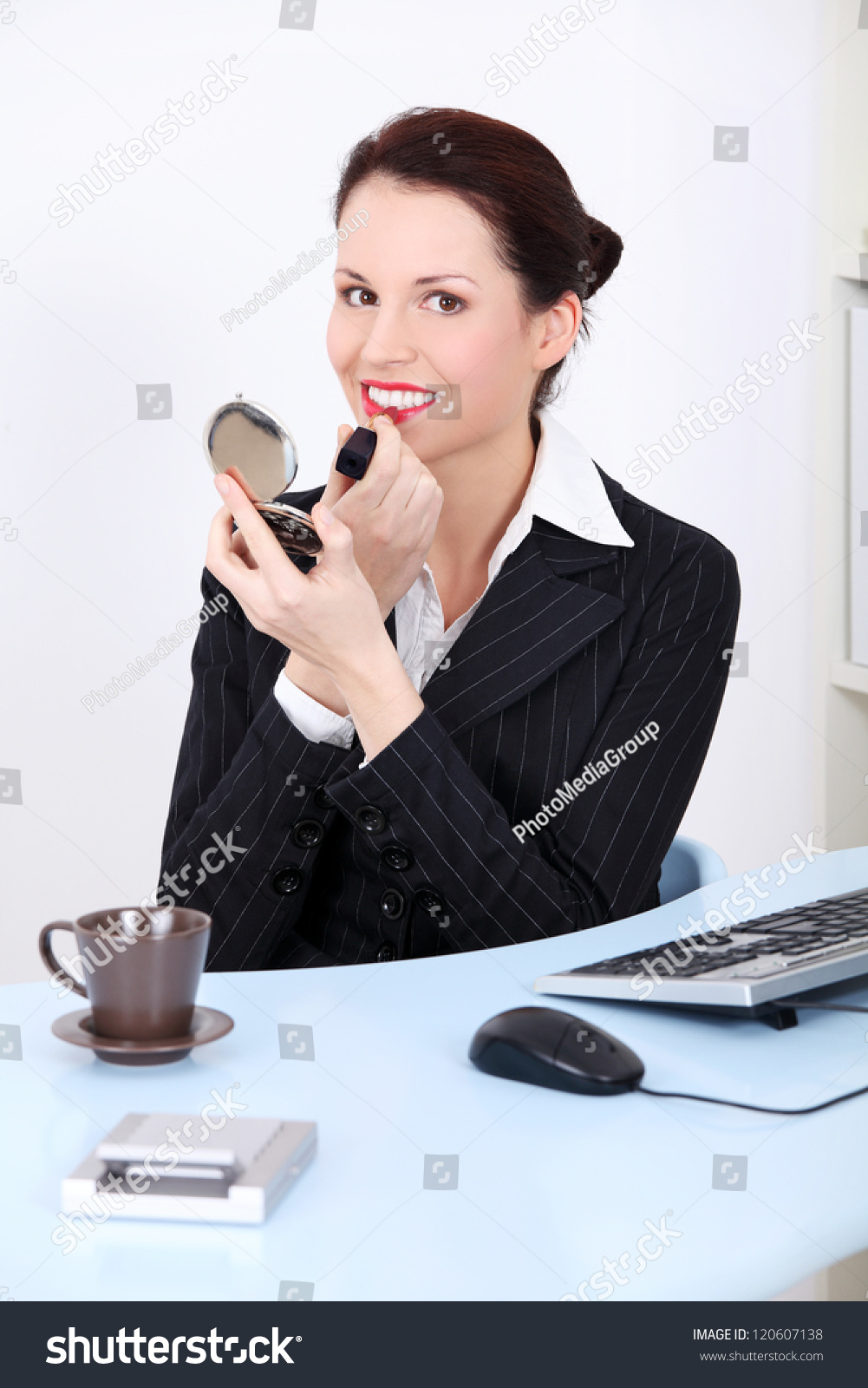 Office Worker Doing Make Up At Job Using Lipstick And Hand Mirror Stock Photo 120607138 ...