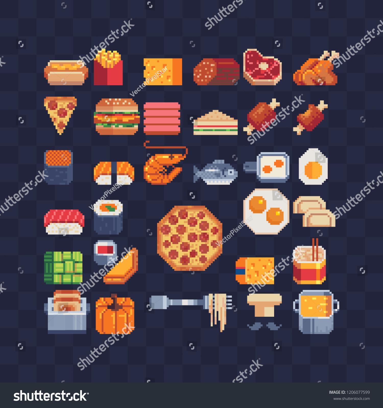 Image Vectorielle De Stock De Icônes De Pixel Art De La