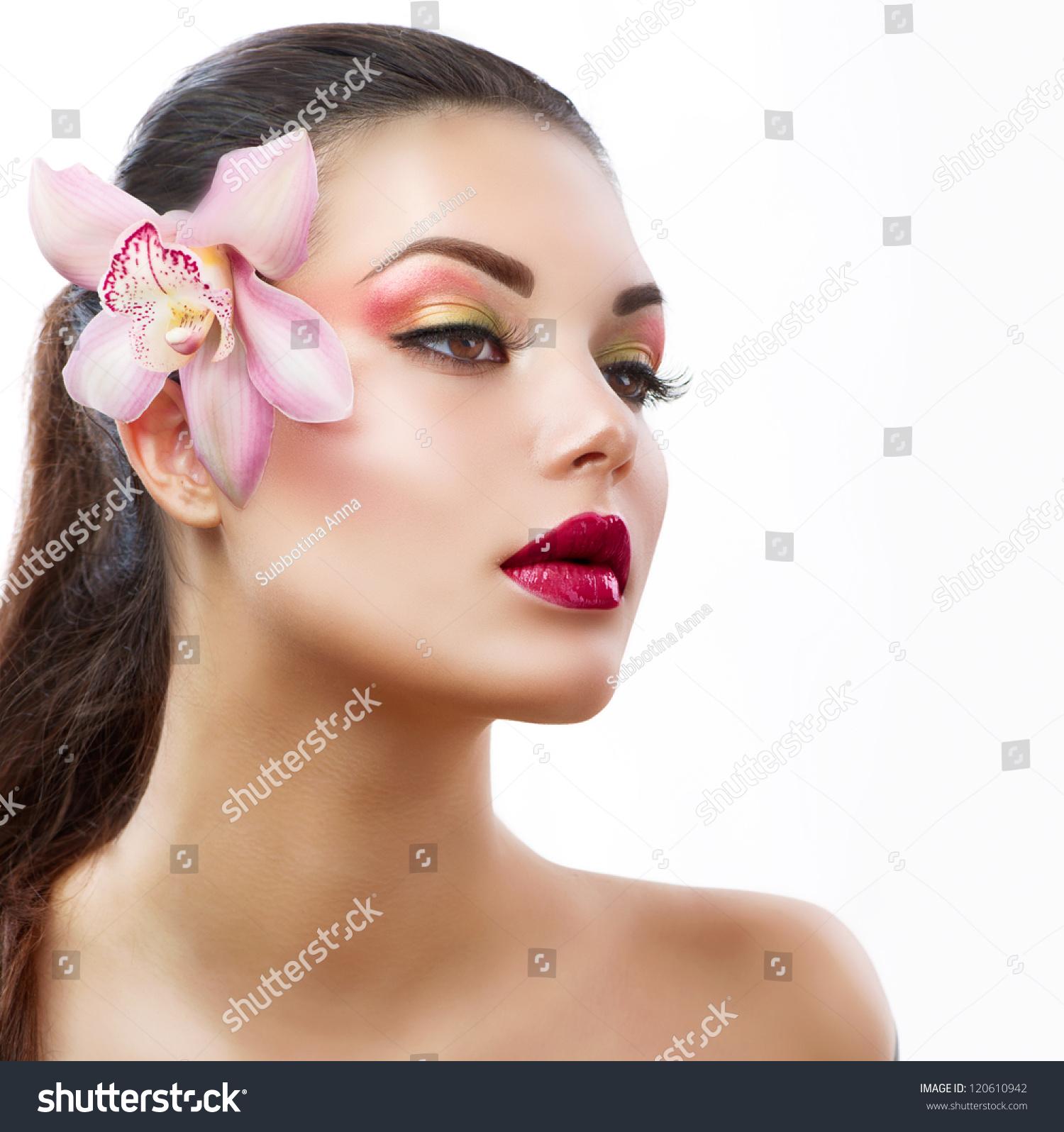 Beauty woman orchid flower beautiful model woman stock photo beauty woman with orchid flowerautiful model woman facerfect skin professional make izmirmasajfo