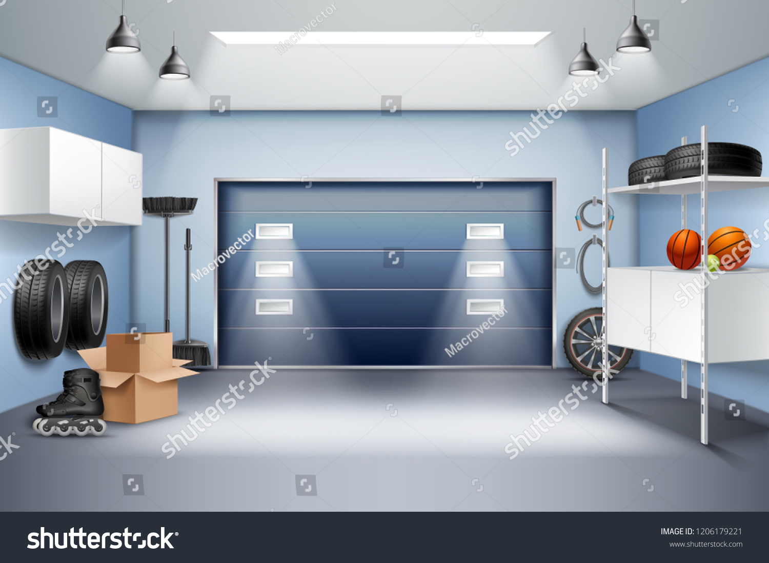 Modern Spacious Garage Interior Realistic Composition