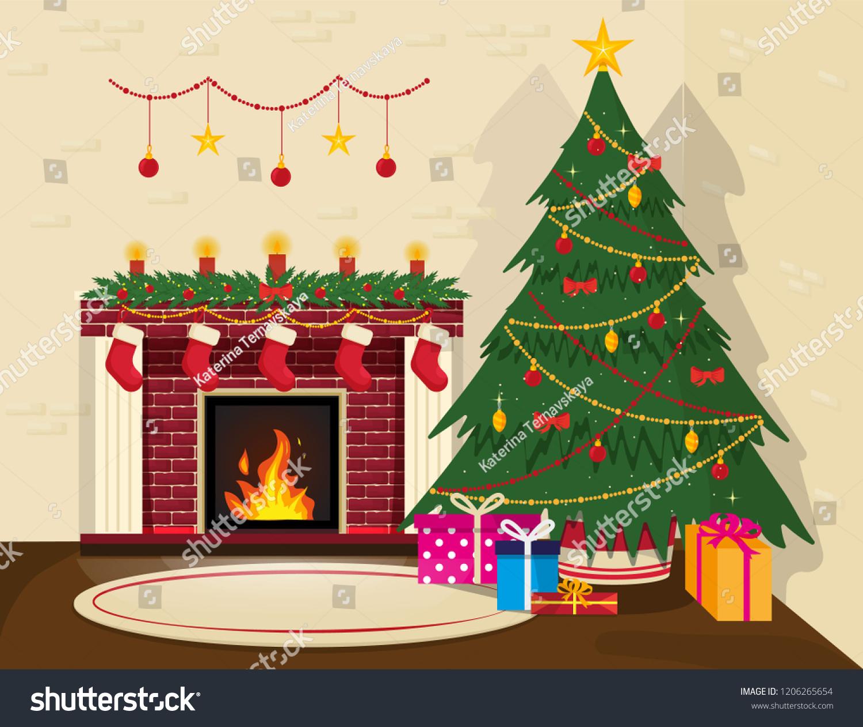 Cozy Christmas Interior Christmas Tree Fireplace Stock Vector Royalty Free 1206265654