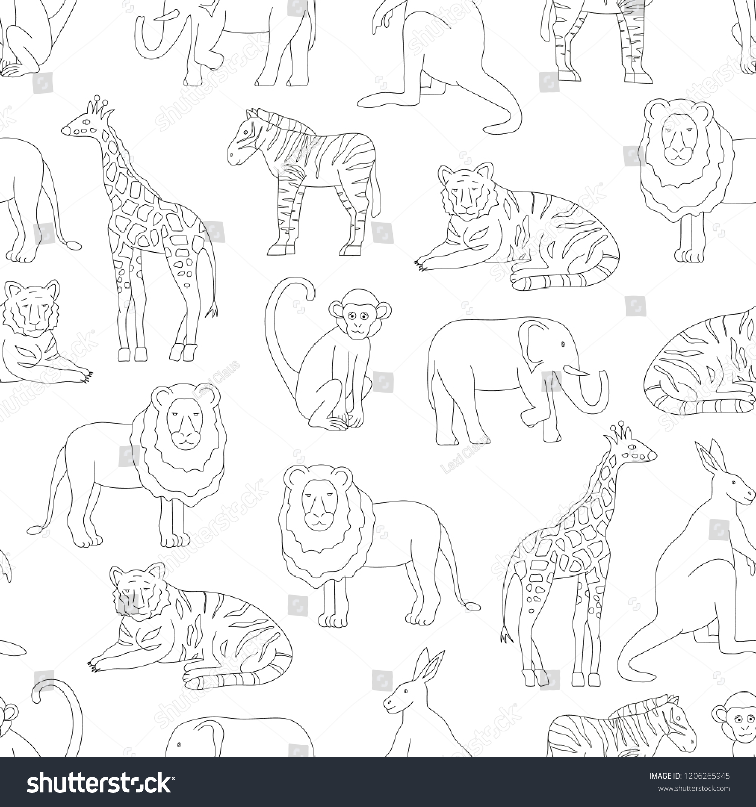 Vector Seamless Pattern Zoo Animals Isolated Stock Vector Royalty