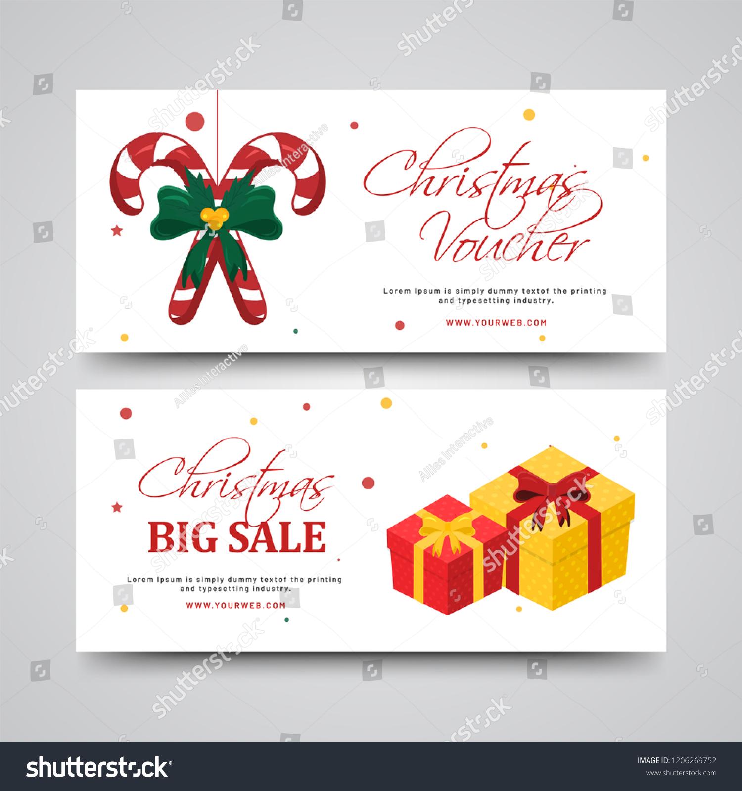 Big Sale Christmas Gift Voucher Illustration Stock Vector Royalty