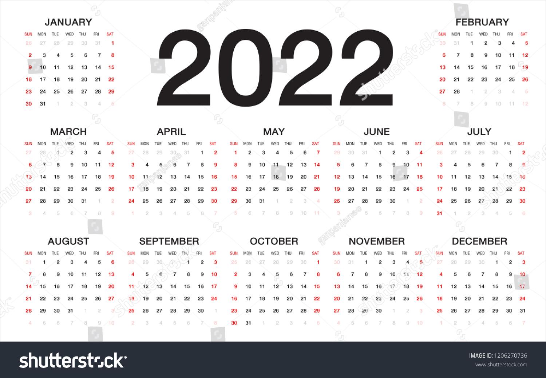 2022 Week Calendar.Calendar 2022 Week Starts Sunday Business Stock Vector Royalty Free 1206270736