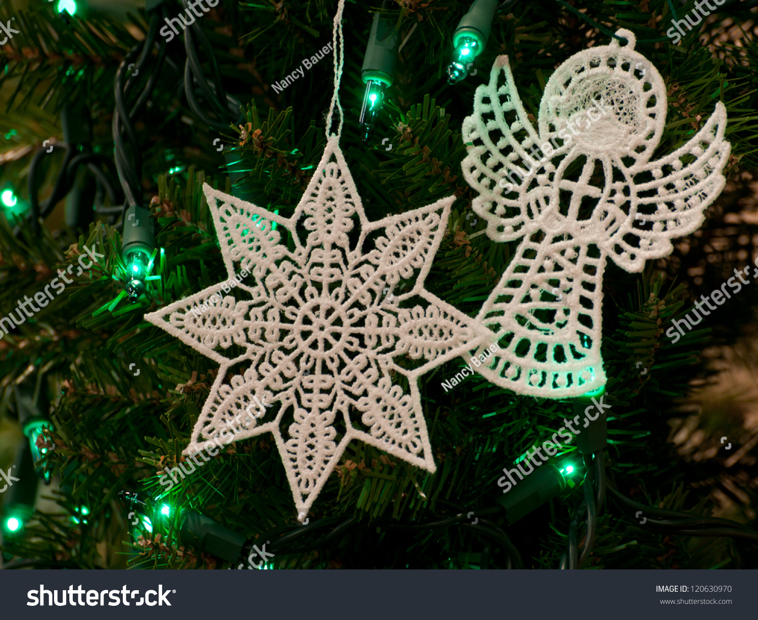 Stand Alone Lace Designs : Freestanding lace christmas star angel stock