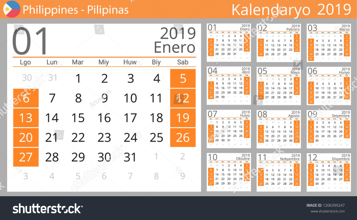 calendar 2019 year for philippines country philippine language set of 12 months week
