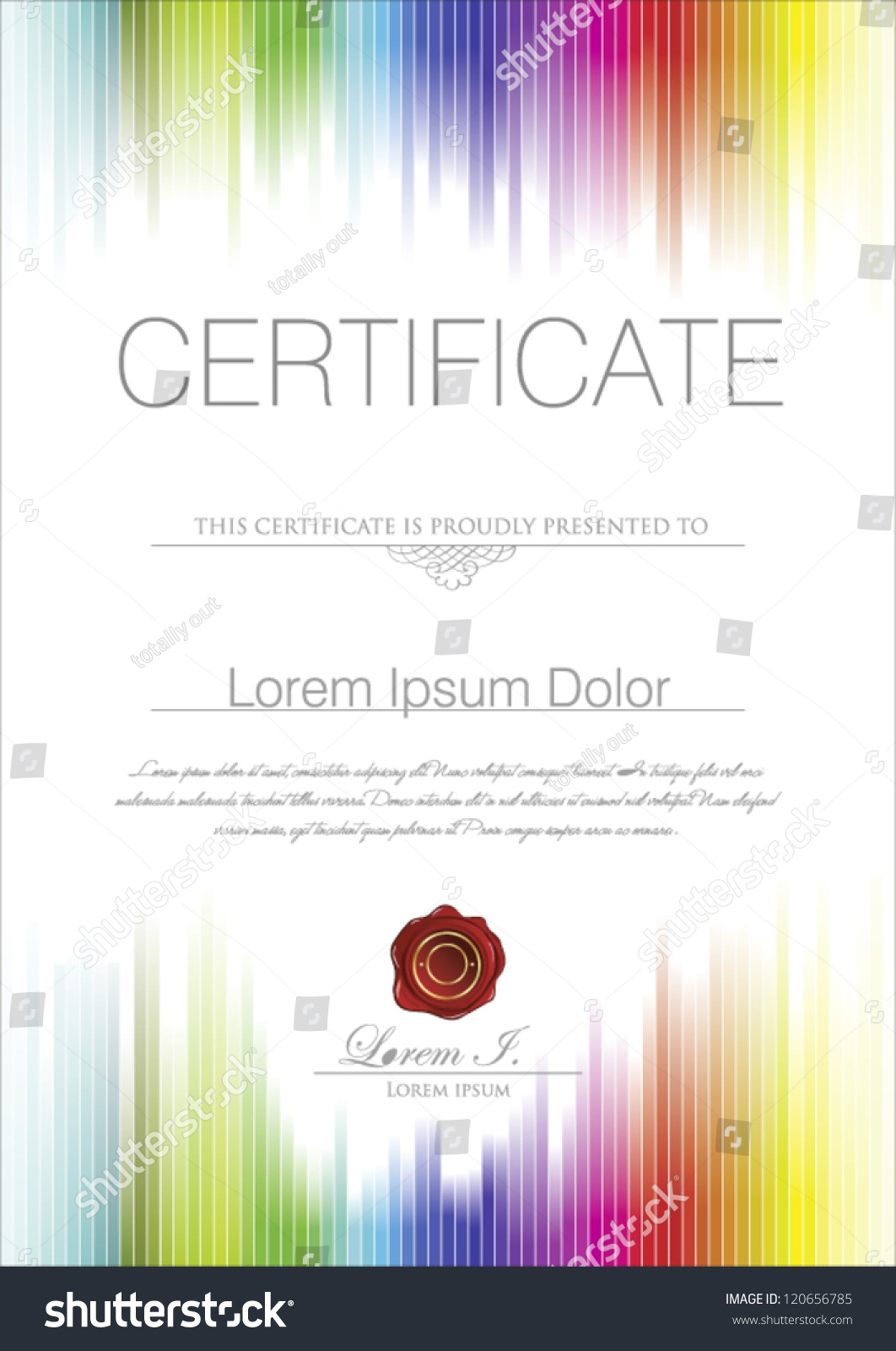 Colorful Certificate Template Stock Vector 120656785 ...