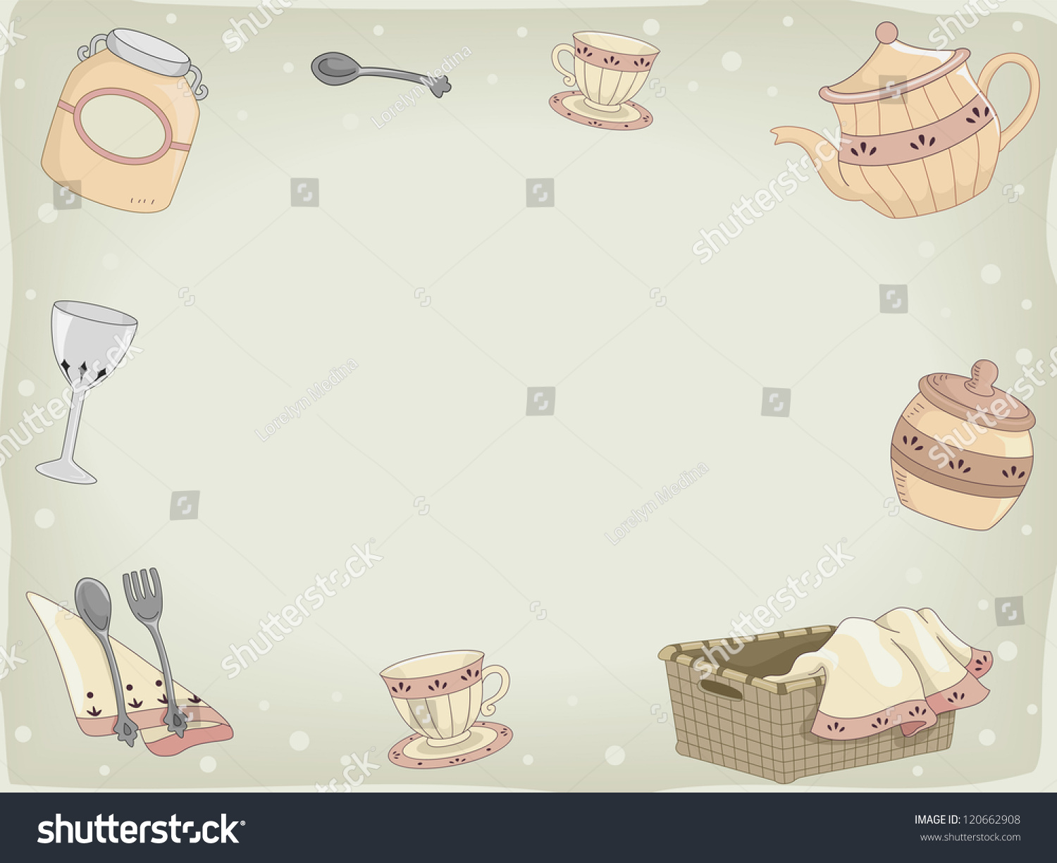 Background Illustration Of Country Kitchen Utensils 120662908