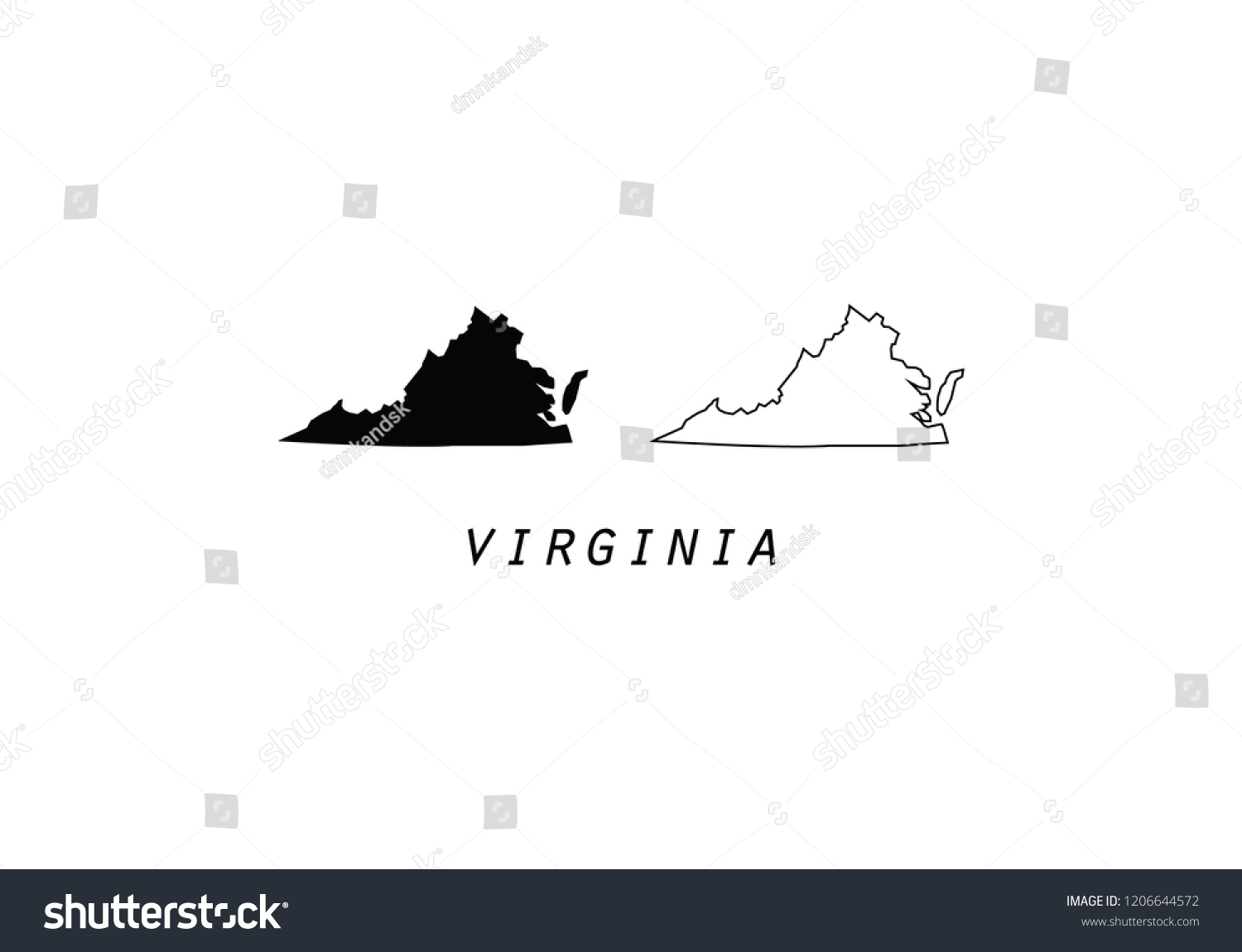 Outline Map Of Virginia.Virginia Outline Map State Shape Usa Stock Vector Royalty Free