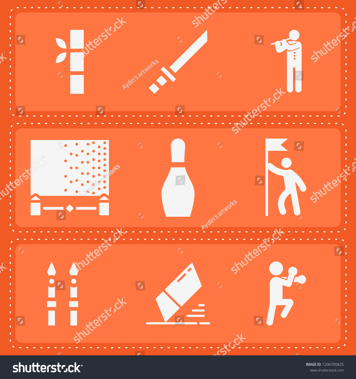 Simple Collection Art Related Filled Icons Stock Vector (Royalty