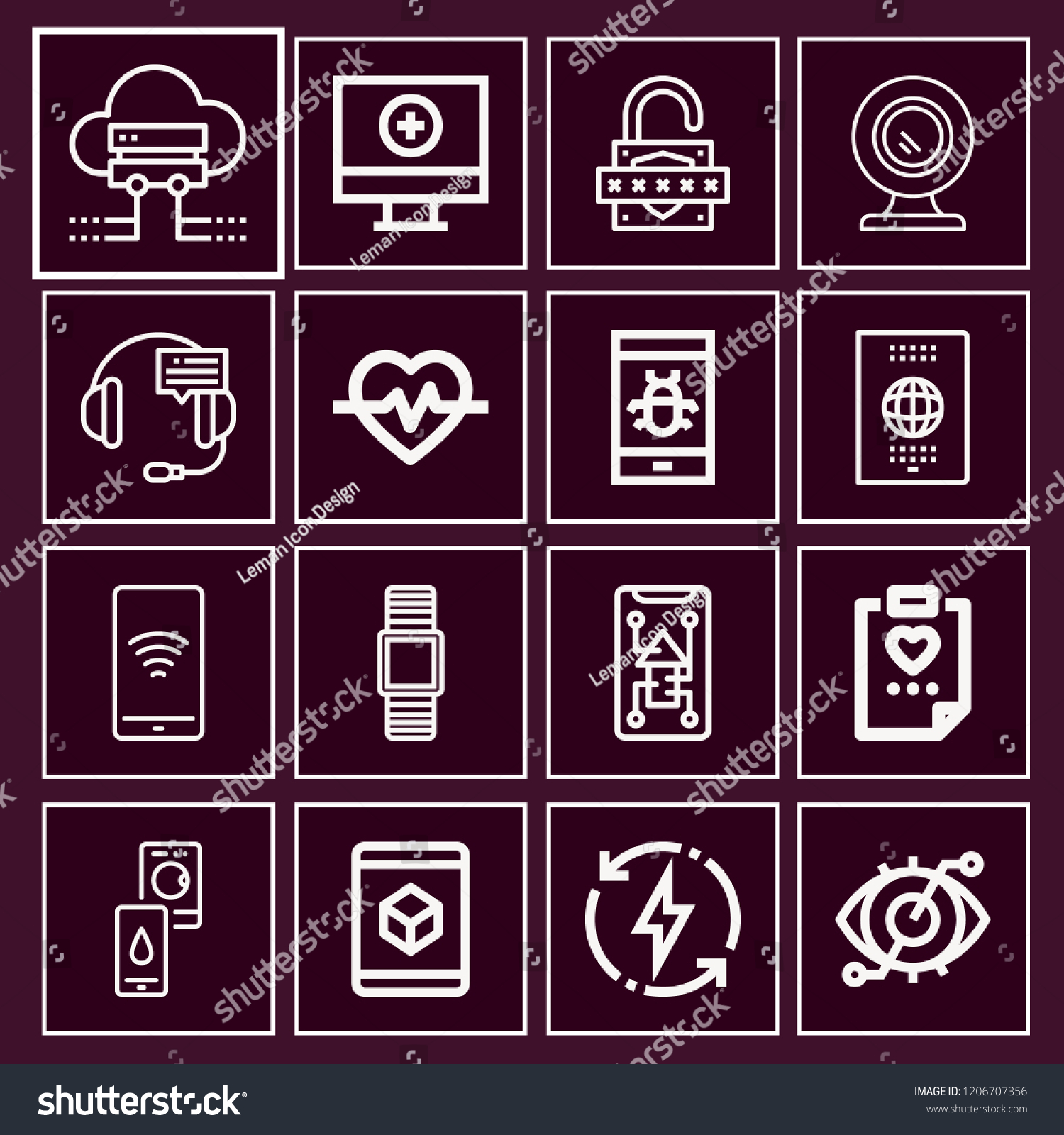 Set 16 Technology Outline Icons Such Stock Vector (Royalty Free