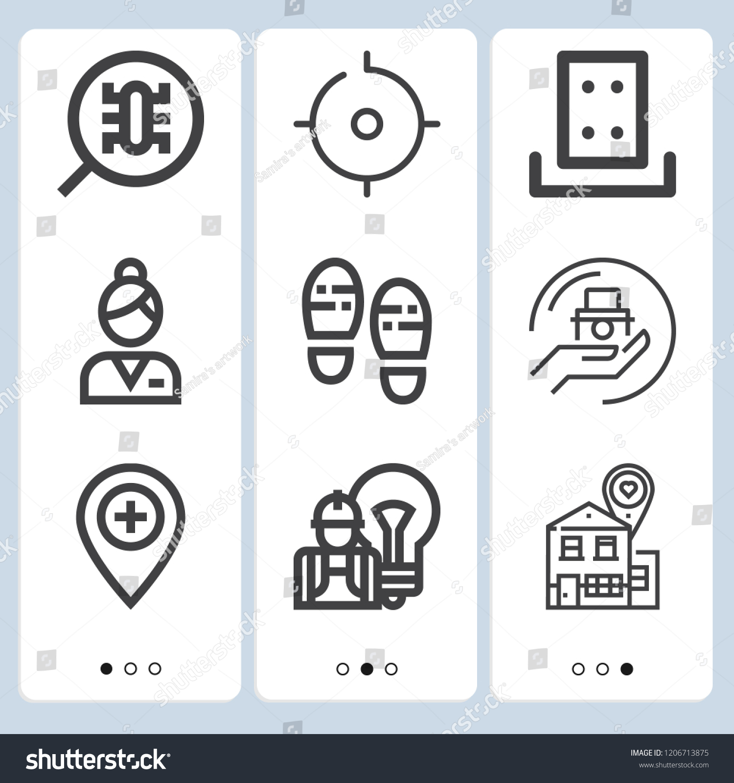 simple set 9 outline icons on stock vector royalty free 1206713875