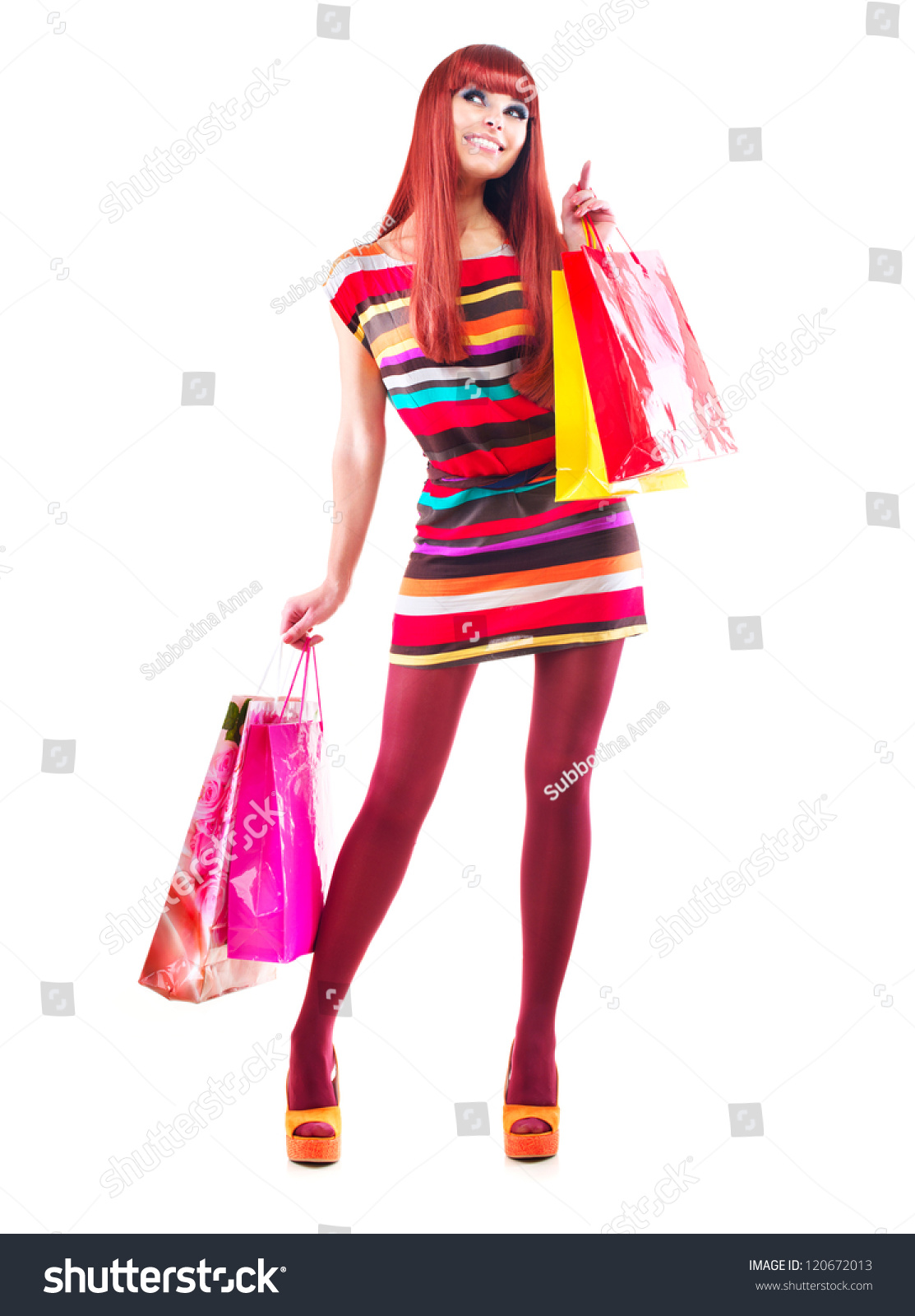 Woman posing with shopping bags isolated on white background full - Fashion Shopping Girl Full Length Portrait Beauty Woman With Shopping Bags Isolated On White