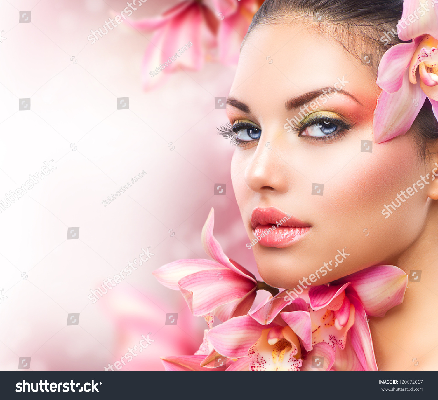 Royalty Free Beautiful Girl With Orchid Flowers