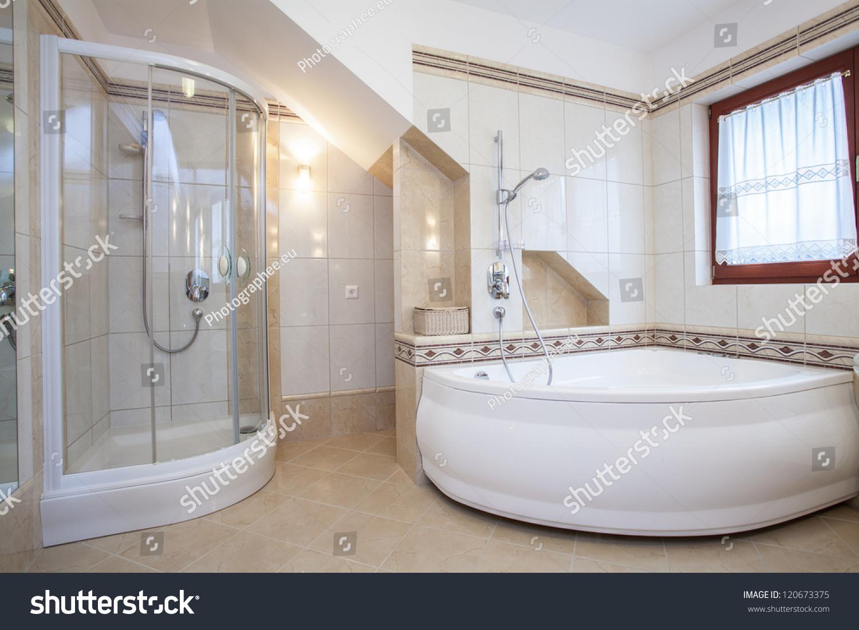Shower Big Bath Beige Bathroom Interior Stock Photo (Edit Now ...