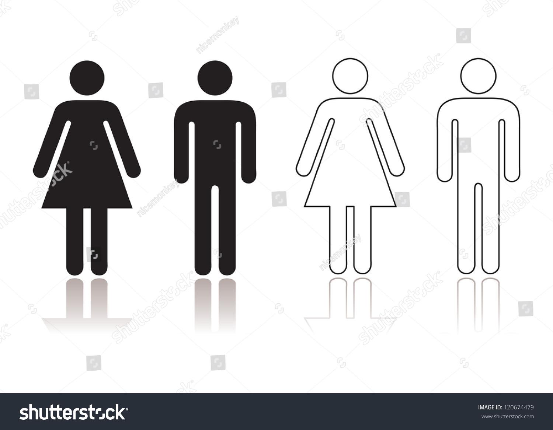 Restroom symbol black and white
