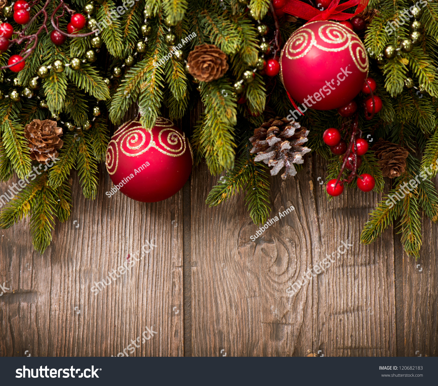 Christmas Decorations Background Pictures: Christmas Decoration Over Wooden Background. Decorations