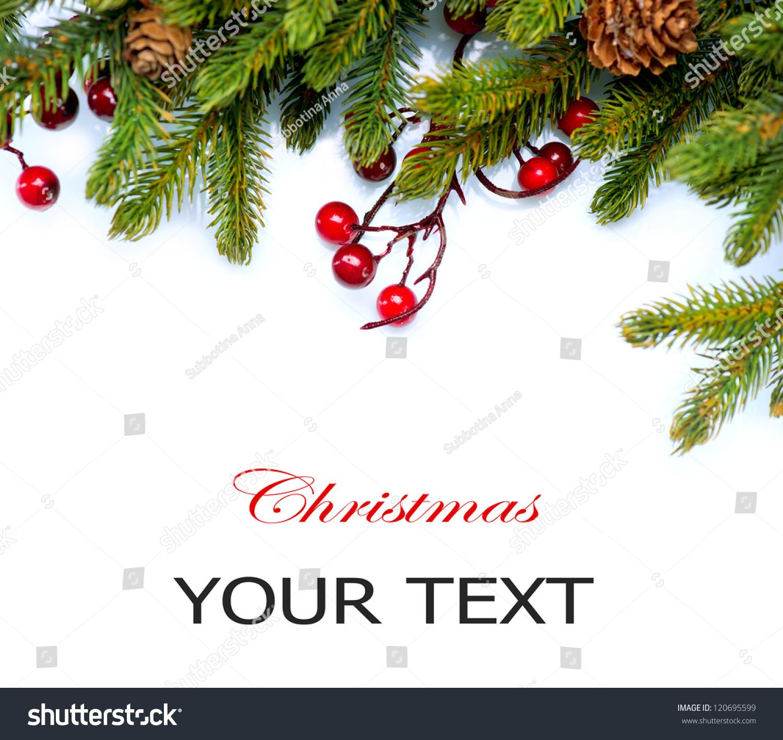 Christmas..Fir tree.Pine tree. Evergreen Border Design.Frame.Isolated ...