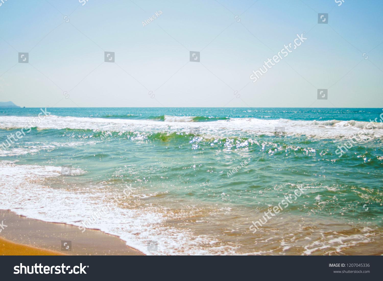 Landscape Sky Sea Foam Waves Sand Stock Photo (Edit Now